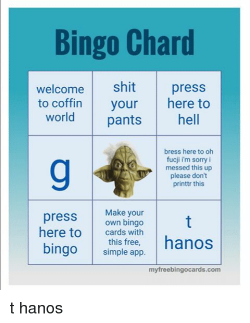 bingo chard welcome shit press to coffin your here to 18823036 ✅ 25 best memes about make your own bingo make your own bingo
