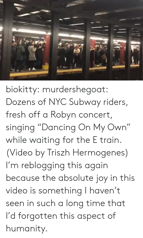 "Fresh, Singing, and Subway: biokitty: murdershegoat: Dozens of NYC Subway riders, fresh off a Robyn concert, singing ""Dancing On My Own"" while waiting for the E train. (Video by Triszh Hermogenes)  I'm reblogging this again because the absolute joy in this video is something I haven't seen in such a long time that I'd forgotten this aspect of humanity."