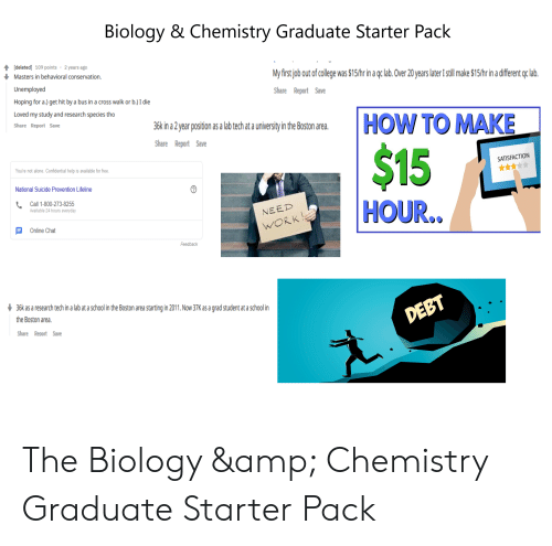 Being Alone, College, and School: Biology & Chemistry Graduate Starter Pack  [deleted] 109 points 2 years ago  Masters in behavioral conservation.  Unemployed  Hoping for a.) get hit by a bus in a cross walk or b.) I die  Loved my study and research species tho  Share Report Save  M first job out of college was $15/hr in a gclab. Over 20 years later Istll make $15/hr in a different qc lab  Share Report Save  36k in a 2year position as a lab tech at a university in the Boston area.  Share Report Save  SATISFACTION  You're not alone. Confidential help is available for free  National Suicide Prevention Lifeline  Call 1-800-273-8255  Available 24 hours everyday  HOUR.  Online Chat  Feedback  36k as a research tech in a lab at a school in the Boston area starting in 2011. Now 37K as a grad student at a school in  the Boston area.  Share Reoort Save The Biology & Chemistry Graduate Starter Pack