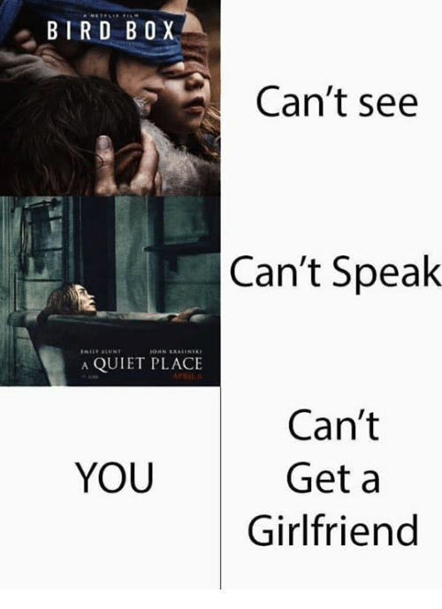 Memes, Quiet, and Girlfriend: BIRD B O X  Can't see  Can't Speak  A QUIET PLACE  Can't  Get a  Girlfriend  YOU