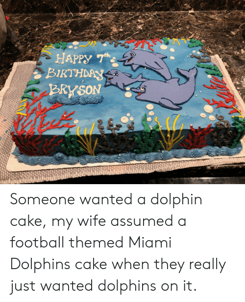 BIRTHDAY Someone Wanted a Dolphin Cake My Wife Assumed a Football ...
