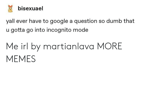 Dank, Dumb, and Google: bisexuael  yall ever have to google a question so dumb that  u gotta go into incognito mode Me irl by martianlava MORE MEMES