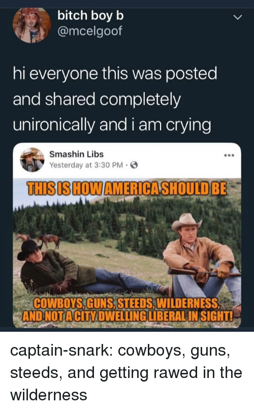 Bitch, Dallas Cowboys, and Crying: bitch boy b  @mcelgoof  hi everyone this was posted  and shared completely  unironically and i am crying  Smashin Libs  Yesterday at 3:30 PM.  THISIS HOWAMERICASHOULDBE  COWBOYS,GUNS, STEEDS,WILDERNESS  AND NOTACİTY DWELLING LIBERAL INSIGHTL captain-snark:  cowboys, guns, steeds, and getting rawed in the wilderness