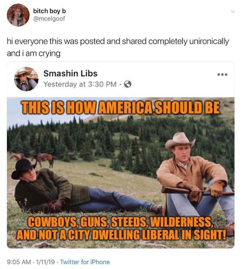 Dallas Cowboys, Crying, and Guns: bitch boy b  @mcelgoof  hi everyone this was posted and shared completely unironically  and i am crying  Smashin Libs  Yesterday at 3:30 PM  THISIS HOW AMERICASHOULD BE  COWBOYS,GUNS,STEEDS, WILDERNESS  AND NOT ACITY DWELLING LIBERAL IN SIGHT!  afin cem  9:05 AM 1/11/19 Twitter for iPhone