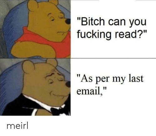 "Bitch, Fucking, and Email: ""Bitch can you  fucking read?""  ""As per my last  email,"" meirl"