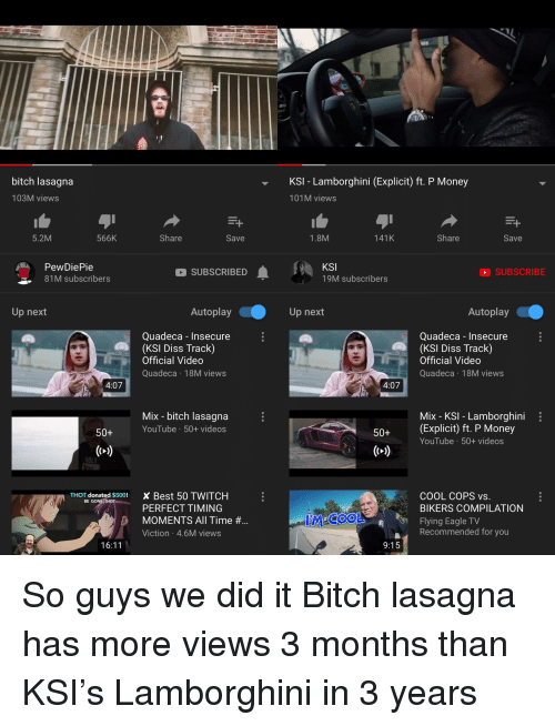 Bitch Lasagna Ksi Lamborghini Explicit Ft P Money 103m Views 101m