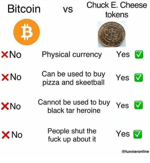 Chuck E Cheese, Pizza, and Black: Bitcoin vS  Chuck E. Cheese  tokens  XNo Physical currency Yes  Can be used to buy  pizza and skeetball  ×No  Cannot be used to buy Yes  black tar heroine  People shut the Y  fuck up about it  No  Yes  @funnieronline
