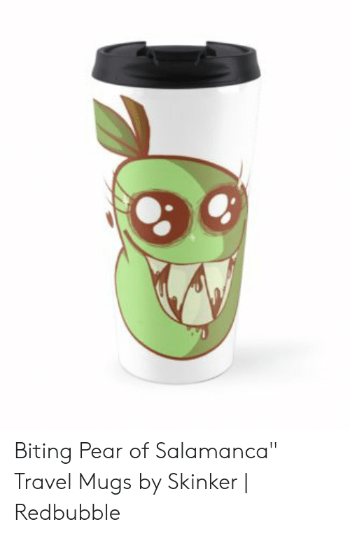 a9e19c0cd8d Biting Pear of Salamanca Travel Mugs by Skinker | Redbubble | Travel ...