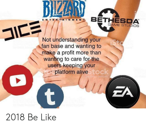 Alive, Be Like, and Game: BIZER  E N TER T AIN M E N  GAME STUDIOS  Not understanding your  an base and wanting to  make a profit more than  wanting to care for the  users keeping your  latform alive  toc  ZA 2018 Be Like