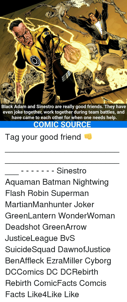 Joker, Memes, and 🤖: Black Adam and Sinestro are really good friends. They have  even joke together, work together during team battles, and  have came to each other for when one needs help.  COMIC SOURCE Tag your good friend 👊 _____________________________________________________ - - - - - - - Sinestro Aquaman Batman Nightwing Flash Robin Superman MartianManhunter Joker GreenLantern WonderWoman Deadshot GreenArrow JusticeLeague BvS SuicideSquad DawnofJustice BenAffleck EzraMiller Cyborg DCComics DC DCRebirth Rebirth ComicFacts Comcis Facts Like4Like Like