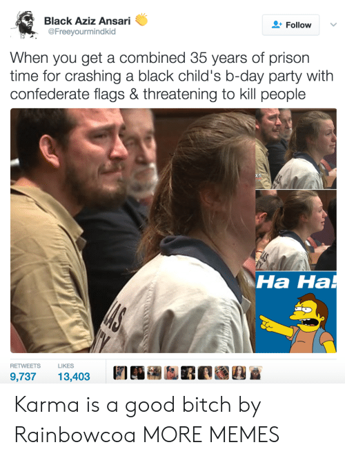 Bitch, Dank, and Memes: Black Aziz Ansari  @Freeyourmindkid  Follow  When you get a combined 35 years of prison  time for crashing a black child's b-day party with  confederate flags & threatening to kill people  Ha Ha  на на  RETWEETSLIKES  9,73713,403 Karma is a good bitch by Rainbowcoa MORE MEMES