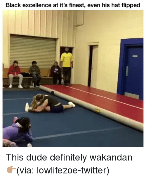 Definitely, Dude, and Funny: Black excellence at it's finest, even his hat flipped This dude definitely wakandan 👉🏽(via: lowlifezoe-twitter)