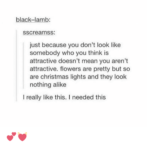 Christmas, Tumblr, and Black: black-lamb:  SSCreamSS  just because you don't look like  somebody who you think is  attractive doesn't mean you aren't  attractive. flowers are pretty but so  are Christmas lights and they look  nothing alike  I really like this. I needed this 💕💓