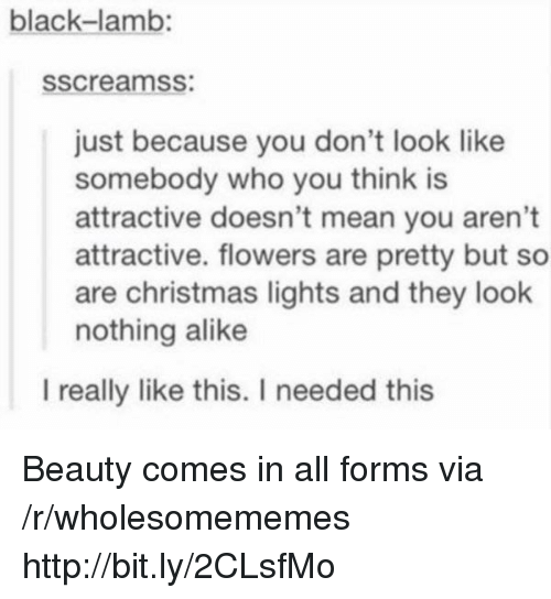 Christmas, Black, and Flowers: black-lamb:  sscreamss:  just because you don't look like  somebody who you think is  attractive doesn't mean you aren't  attractive. flowers are pretty but so  are christmas lights and they look  nothing alike  l really like this. I needed this Beauty comes in all forms via /r/wholesomememes http://bit.ly/2CLsfMo