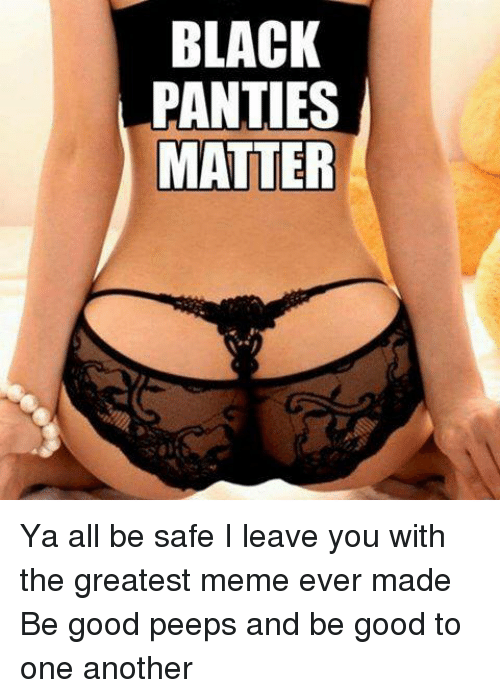 Meme, Memes, and Black: BLACK  PANTIES  MATTER Ya all be safe    I leave you with the greatest meme ever made   Be good peeps and be good to one another