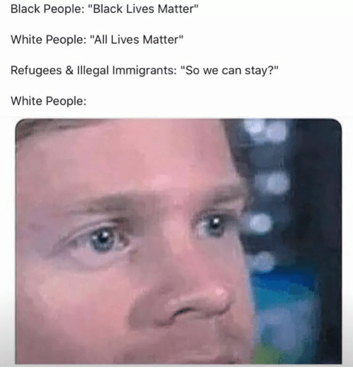 """All Lives Matter, Black Lives Matter, and White People: Black People: """"Black Lives Matter""""  White People: """"All Lives Matter""""  Refugees & Illegal Immigrants: """"So we can stay?""""  White People:  ?11"""