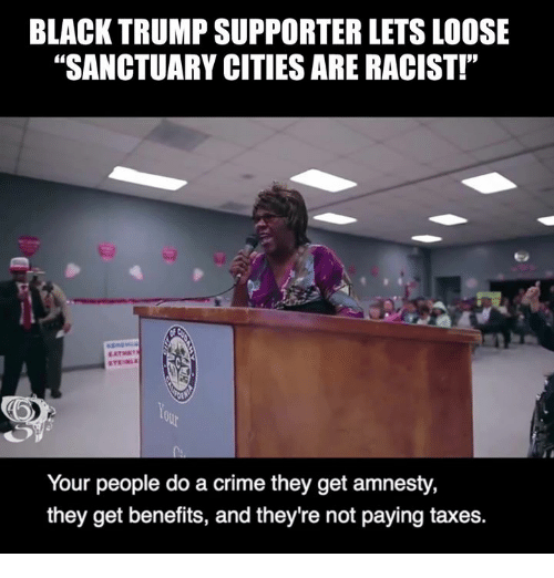 """Crime, Memes, and Taxes: BLACK TRUMP SUPPORTER LETS LOOSE  """"SANCTUARY CITIES ARE RACIST!""""  Your people do a crime they get amnesty,  they get benefits, and they're not paying taxes."""