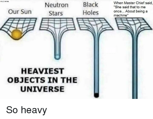 "Halo, Holes, and Black: Black  When Master Chief said  ""She said that to me  Neutron  Our Sun  once... About being a  Holes  Stars  machine""  HEAVIEST  OBJECTS IN THE  UNIVERSE So heavy"