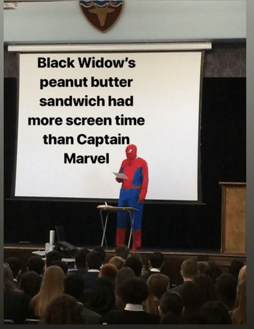 Memes, Black, and Marvel: Black Widow's  peanut butter  sandwich had  more screen time  than Captain  Marvel