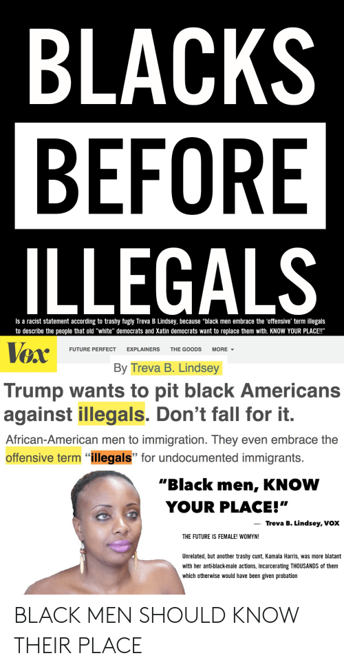 """Fall, Future, and American: BLACKS  BEFORE  ILLEGALS  Is a racist statement according to trashy fugly Treva B Lindsey, because """"black men embrace the 'offensive' term illegals  to describe the people that old """"white"""" democrats and Xatin democrats want to replace them with. KNOW YOUR PLACE!""""  VexBy Treva B. Lindsey  FUTURE PERFECT EXPLAINERS THE GOODS MORE▼  Trump wants to pit black Americans  against illegals. Don't fall for it.  African-American men to immigration. They even embrace the  offensive term """"illegals"""" for undocumented immigrants.  """"Black men, KNOW  YOUR PLACE!""""  Treva B. Lindsey, Vox  THE FUTURE IS FEMALE! WOMYN!  Unrelated, but another trashy cunt, Kamala Harris, was more blatant  with her anti-black-male actions, incarcerating THOUSANDS of them  which otherwise would have been given probation BLACK MEN SHOULD KNOW THEIR PLACE"""