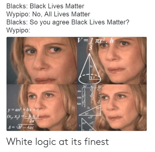 All Lives Matter, Black Lives Matter, and Logic: Blacks: Black Lives Matter  Wypipo: No, All Lives Matter  Blacks: So you agree Black Lives Matter?  Wypipo:  sin  cos  tan  2s  tx, x)  VS  (a White logic at its finest