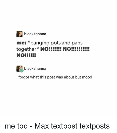 Memes, Mood, and Banging: blackzhanna  me: *banging pots and pans  blackzhanna  I forgot what this post was about but mood me too - Max textpost textposts