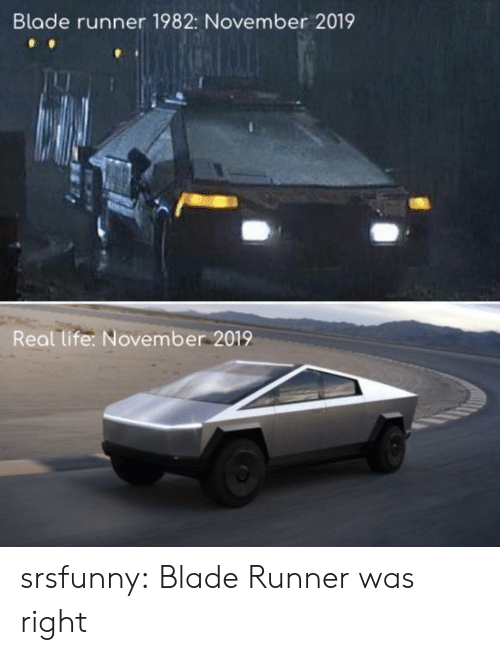 Blade, Life, and Tumblr: Blade runner 1982: November 2019  Real life: November 2019 srsfunny:  Blade Runner was right