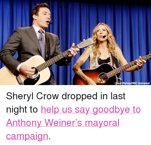 """Target, youtube.com, and Help: Blahop/ BC Unlvers <p>Sheryl Crow dropped in last night to <a href=""""http://www.youtube.com/watch?v=qu2-jSxUzQ4"""" target=""""_blank"""">help us say goodbye to Anthony Weiner&rsquo;s mayoral campaign</a>.</p>"""