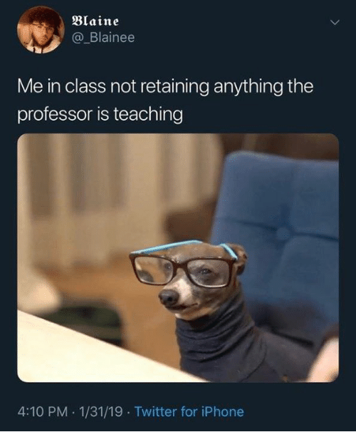 Dank, Iphone, and Twitter: Blaine  @_Blainee  Me in class not retaining anything the  professor is teaching  4:10 PM 1/31/19 Twitter for iPhone