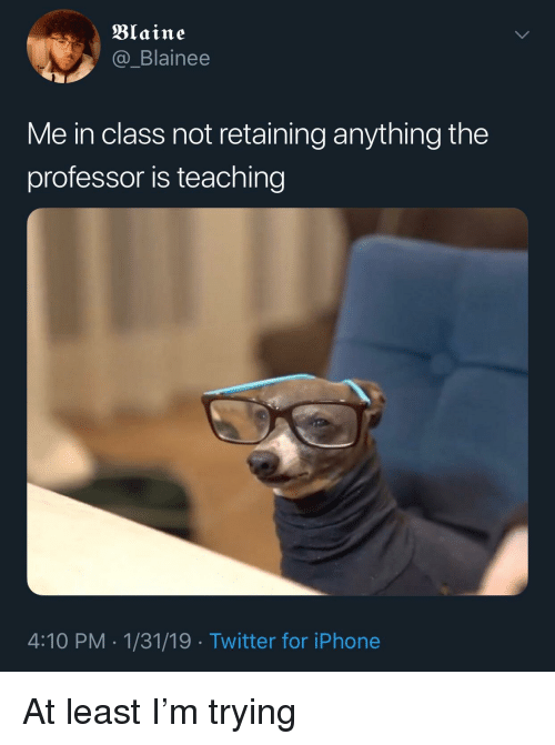 Iphone, Twitter, and Teaching: Blaine  @_Blainee  Me in class not retaining anything the  professor is teaching  4:10 PM-1/31/19 Twitter for iPhone At least I'm trying