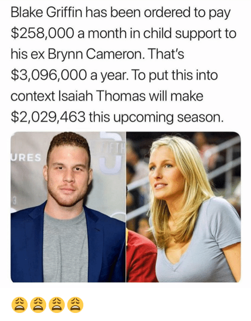 Blake Griffin, Child Support, and Funny: Blake Griffin has been ordered to pay  $258,000 a month in child support to  his ex Brynn Cameron. That's  $3,096,000 a year. To put this into  context Isaiah Thomas will make  $2,029,463 this upcoming season.  URES 😩😩😩😩