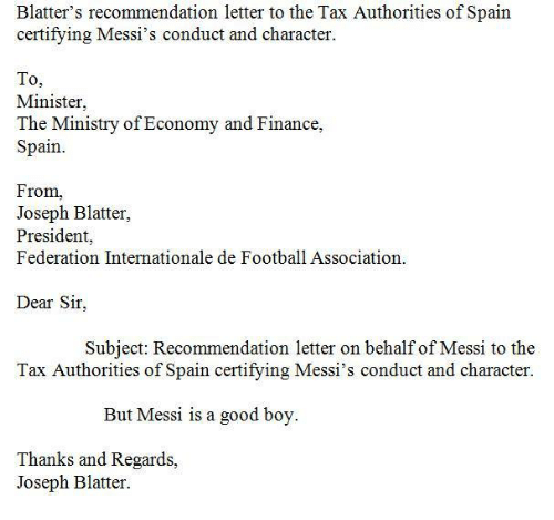 Blatter's Recommendation Letter To The Tax Authorities Of