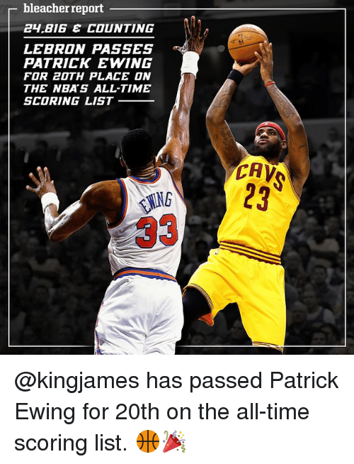 Cavs, Sports, and Bleacher Report: bleacher report  BIG E COUNTING  LEBRON PASSES  PATRICK EWING  FOR 20TH PLACE ON  THE NBA'S ALL-TIME  SCORING LIST  CAV @kingjames has passed Patrick Ewing for 20th on the all-time scoring list. 🏀🎉