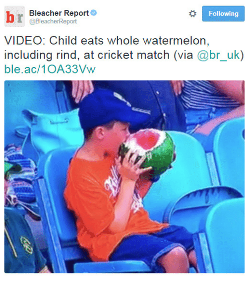 Bleacher Report, Cricket, and Match: Bleacher Report  @BleacherReport  Following  VIDEO: Child eats whole watermelon  including rind, at cricket match (via @br_uk)  ble.ac/1OA33Vw