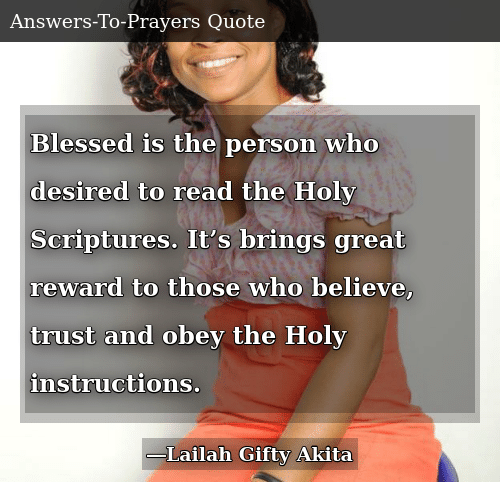 Blessed Is the Person Who Desired to Read the Holy