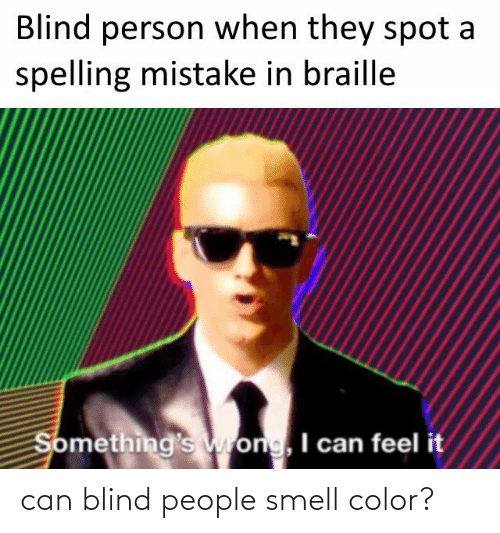 Smell, Color, and Can: Blind person when they spot a  spelling mistake in braille  Something's wrong, I can feel it can blind people smell color?