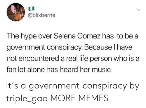 Being Alone, Dank, and Hype: @blixberrie  The hype over Selena Gomez has to be a  government conspiracy. Because I have  not encountered a real life person who is a  fan let alone has heard her music It's a government conspiracy by triple_gao MORE MEMES