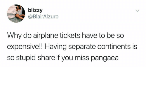 Airplane, Continents, and Why: blizzy  @BlairAlzuro  Why do airplane tickets have to be so  expensive!! Having separate continents is  so stupid share if you miss pangaea