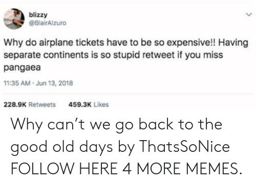 Dank, Memes, and Target: blizzy  @BlairAlzuro  Why do airplane tickets have to be so expensive!! Having  separate continents is so stupid retweet if you miss  pangaea  11:35 AM.Jun 13, 2018  228.9K Retweets  459.3K Likes Why can't we go back to the good old days by ThatsSoNice FOLLOW HERE 4 MORE MEMES.