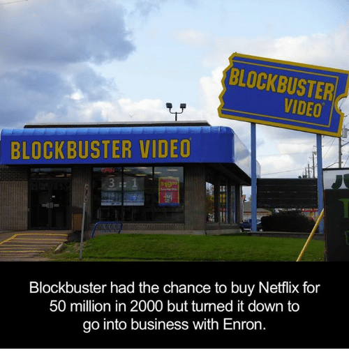 Blockbuster, Dank, and Netflix: BLOCKBUSTER  BLOCKBUSTER VIDEO  Blockbuster had the chance to buy Netflix for  50 million in 2000 but turned it down to  go into business with Enron.