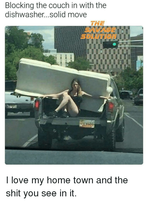 Funny Couches blocking the couch in with the dishwasher solid move | funny meme