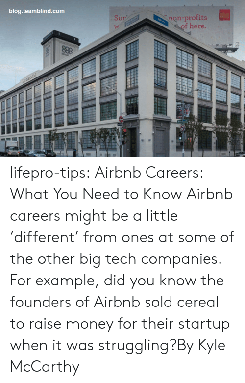 Money, Tumblr, and Airbnb: blog.teamblind.com  non-profits  of here.  Sur  VA) lifepro-tips:   Airbnb Careers: What You Need to Know  Airbnb careers might be a little 'different' from ones at some of the other big tech companies. For example, did you know the founders of Airbnb sold cereal to raise money for their startup when it was struggling?By Kyle McCarthy