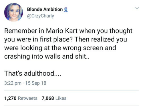 Mario Kart, Shit, and Mario: Blonde Ambition  @CrzyCharly  Remember in Mario Kart when you thought  you were in first place? Then realized you  were looking at the wrong screen and  crashing into walls and shit..  That's adulthoo..  3:22 pm 15 Sep 18  1,270 Retweets 7,068 Likes