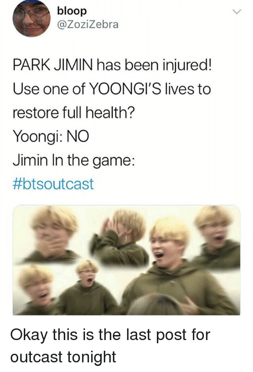 Bloop PARK JIMIN Has Been Injured! Use One of YOONGI'S Lives