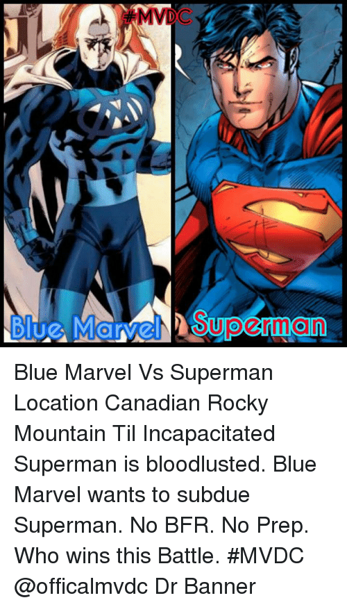 pictures of blue marvel vs superman