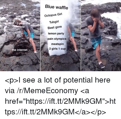 "Blue Waffle, Girls, and Internet: Blue waffle  Octopus Girl  Tubgirl  12-year-old  eme  Best gore  lemon party  pain olympics  meatspin  2 girls 1 cup  the internet <p>I see a lot of potential here via /r/MemeEconomy <a href=""https://ift.tt/2MMk9GM"">https://ift.tt/2MMk9GM</a></p>"