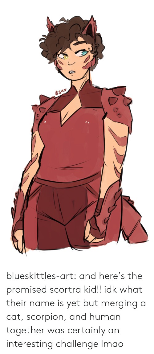 Lmao, Tumblr, and Blog: blueskittles-art:  and here's the promised scortra kid!! idk what their name is yet but merging a cat, scorpion, and human together was certainly an interesting challenge lmao