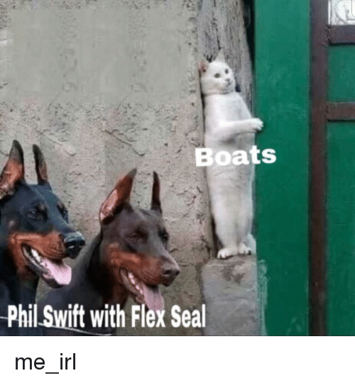 boats phil swift with flex seal flexing meme on me me
