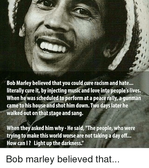 bob marley racism essay Race & ethnicity essay i am black i am of african decent bread i wanted to, listen to all the caribbean melodies of bob marley, and let loose my kinky.