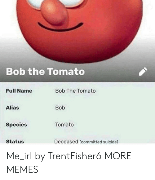Dank, Memes, and Target: Bob the Tomato  Full Name  Bob The Tomato  Alias  Bob  Species  Tomato  Status  Deceased (committed suicide) Me_irl by TrentFisher6 MORE MEMES